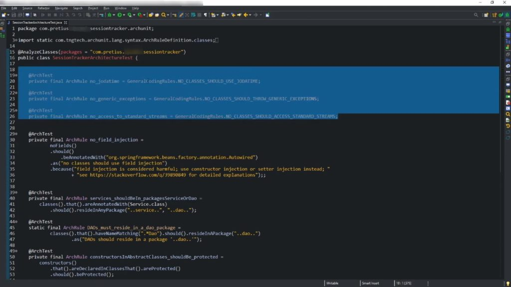 A screen that shows some of ArchUnit's general coding rules.